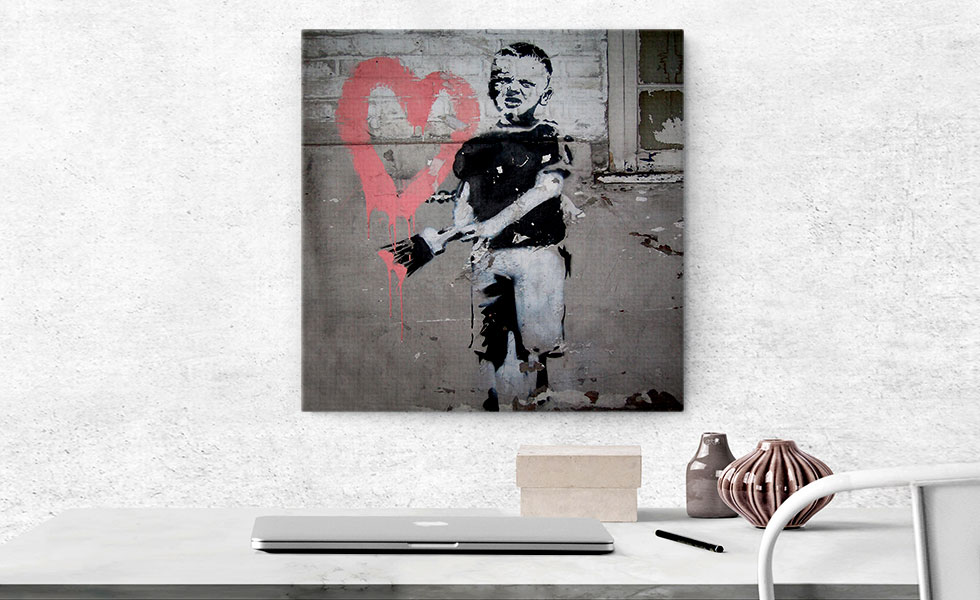 Boy Painting Pink Heart