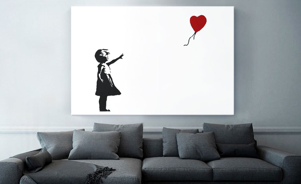 Girl with Balloon (white background Rectangle)