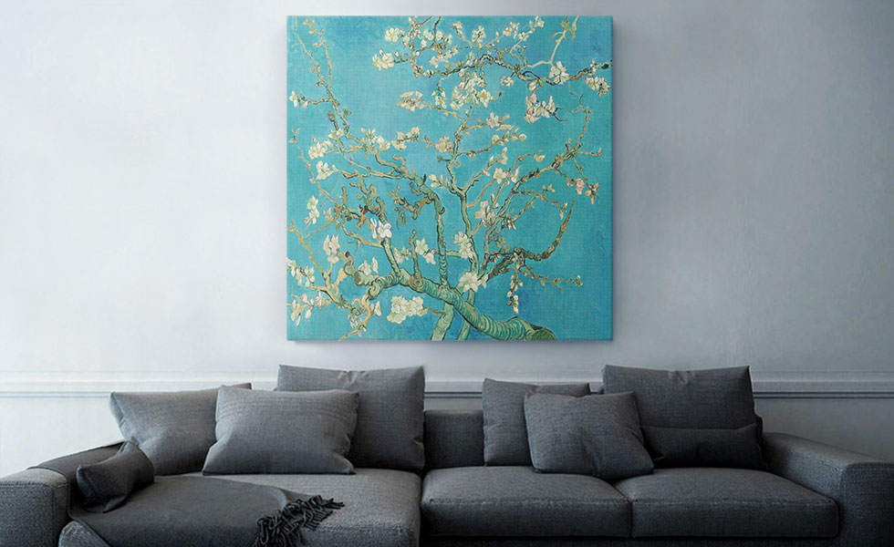 Branches with Almond Blossom - Teal Square 1890