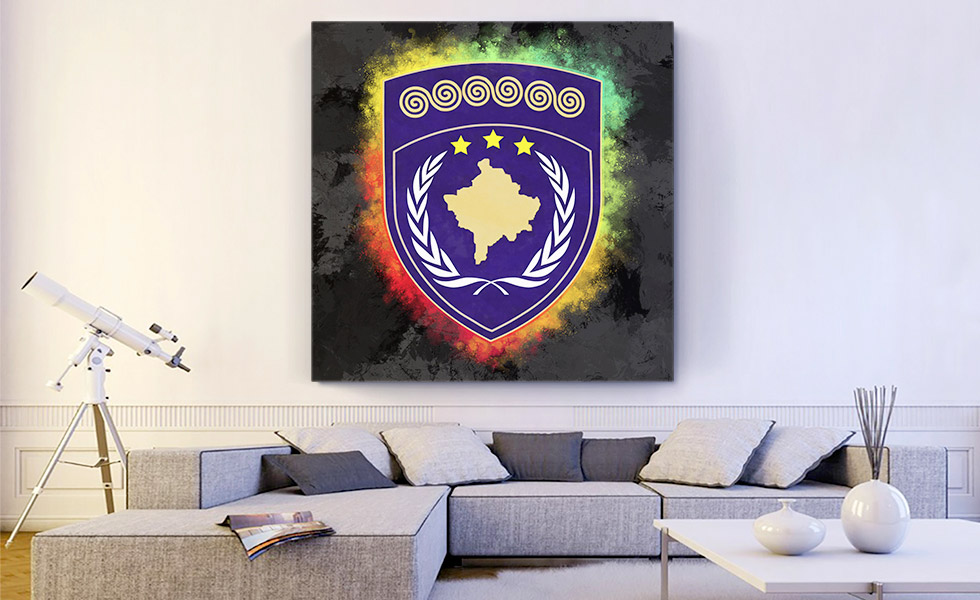 Kosovo Coat of Arms Colorful Splatter With Black